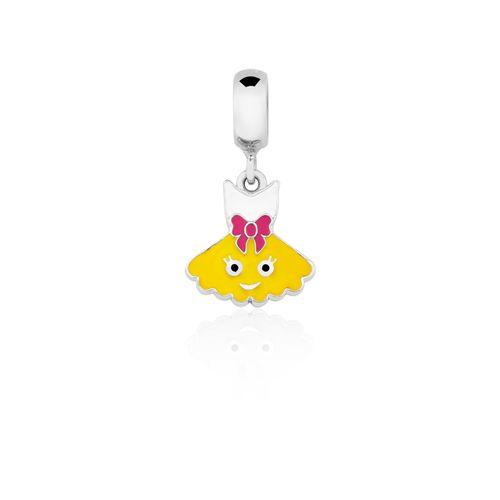 CH1000149---Charm-Vestido-Princesa-com-esmalte-Amarelo-Branco-e-Pink-em-Prata