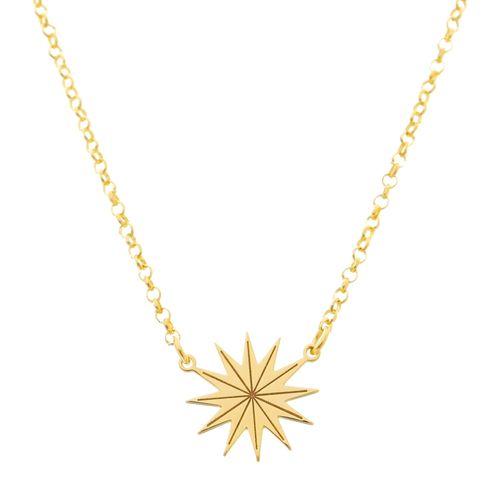 Gargantilha-Estrela-corrente-Elos-em-Prata-com-Banho-de-Ouro-ajustavel-ajustavel