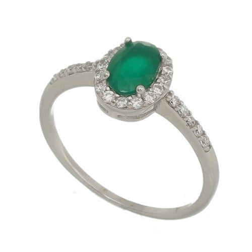 Anel-cravejado-com-Zirconias-Brancas-e-Pedra-Verde-Esmeralda-em-Prata-com-Rodio