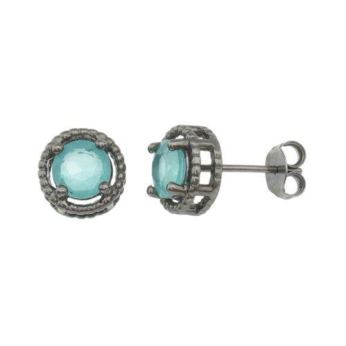 Brinco-Ponto-de-Luz-Pedra-Top-Sky-6mm-Borda-Bolinha-em-Prata-com-Rodio-Negro
