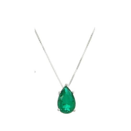 Colar-Gota-com-Zirconia-Verde-Esmeralda-em-Prata-com-Rodio