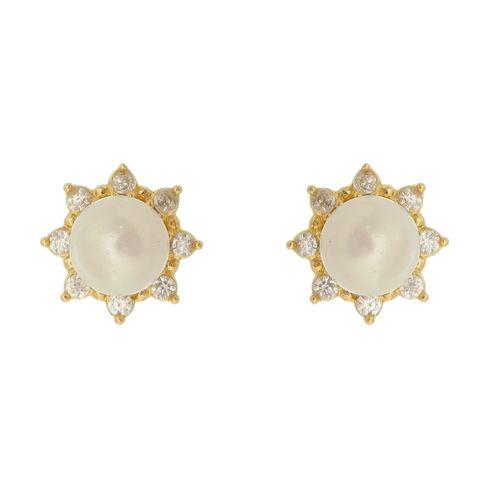 Brinco-Flor-Perola-cravejado-com-Zirconias-Brancas-em-Prata-com-Banho-de-Ouro