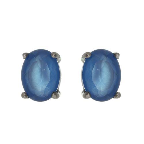 Brinco-Oval-com-Zirconia-Azul-em-Prata-com-Rodio-Negro