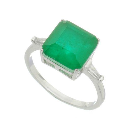 Anel-com-Pedra-Quadrada-Verde-Esmeralda-em-Prata-com-Rodio
