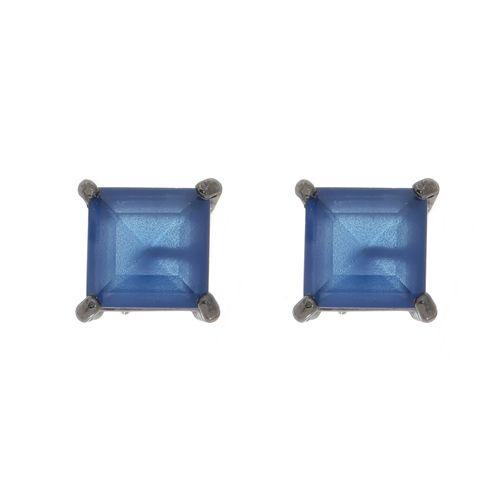 Brinco-Quadrado-com-Zirconia-Azul-em-Prata-com-Rodio-Negro