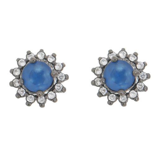 Brinco-Zirconia-Azul-e-brancas-em-Prata--Rodio-Negro-