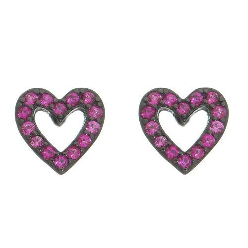 Brinco-Studo-Coracao-com-Zirconias-Pink-em-Prata-com-Rodio-Negro