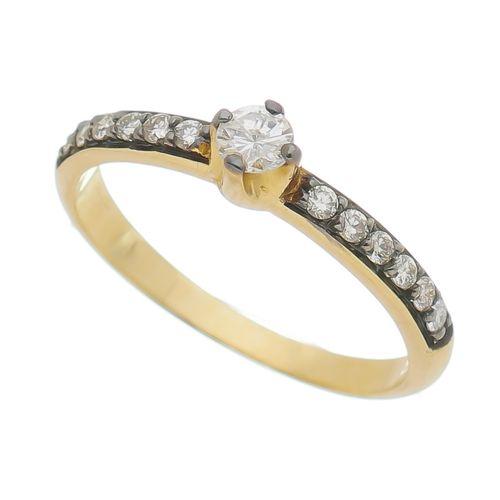 Anel-solitario-com-diamante-cravejado-em-Ouro