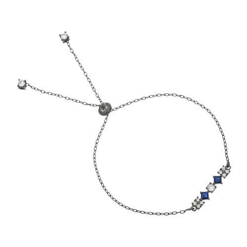 Pulseira-com-Zirconias-Brancas-e-Azul-Safira-em-Prata-com-Rodio-Negro