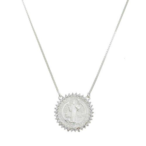 Colar-Medalha--Sao-Bento-com-Zirconias-Brancas-em-Prata-
