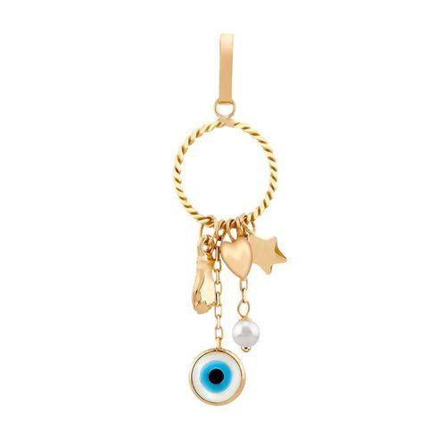 Pingente--Amuleto-da-Sorte-com-Figa-Olho-Grego-Coracao-Estrela-e-Perola-em-Ouro-|