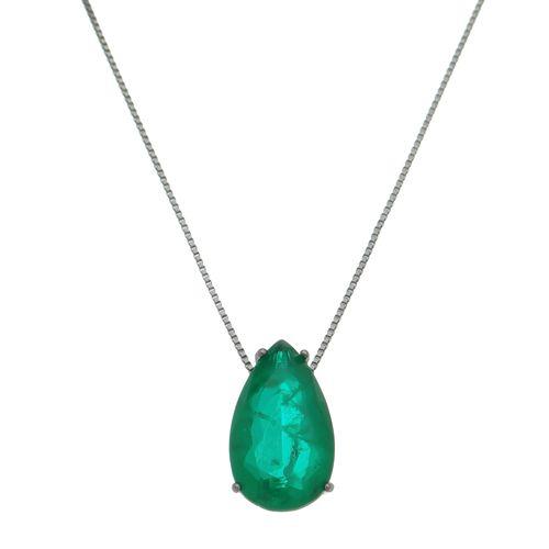 Colar-Gota-com-Pedra-Verde-Esmeralda-com-Rodio-Negro-
