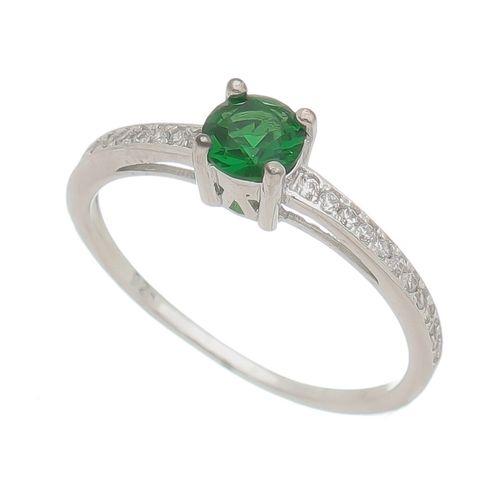 Anel-Solitario-Pedra-verde-Esmeralda-e-Laterias-Brancas-em-Prata-com-Rodio