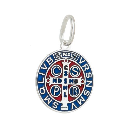 Pingente-Medalha-de-Sao-Bento-com-esmalte-Azul-e-Vermelho-em-Prata