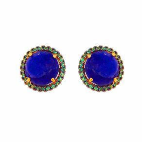 Brinco-Stud-Redondo-com-Zirconias-Verde-e-Pedra-Azul-em-Prata-com-Banho-de-Ouro- -Colecao-Trend