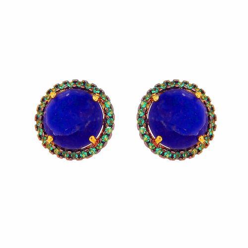 Brinco-Stud-Redondo-com-Zirconias-Verde-e-Pedra-Azul-em-Prata-com-Banho-de-Ouro-|-Colecao-Trend