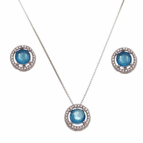 Conjunto-Redondo-Brinco-e-Colar-com-Cristal-azul-Paraiba-em-Prata-e-Rodio-|Classic