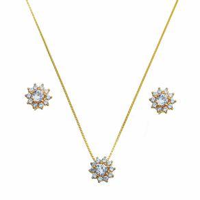 Conjunto-Flor-com-Zirconias-Brancas-em-Prata-e-Banho-de-Ouro- -Classic