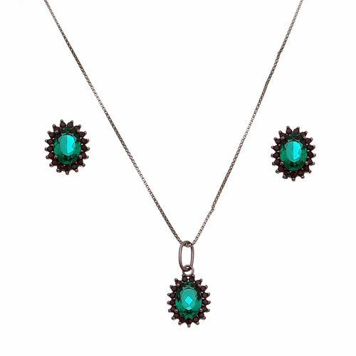 Conjunto-Oval-com-Zirconia-Verde-Esmeralda-e-Negra-em-Prata-e-Rodio-Negro
