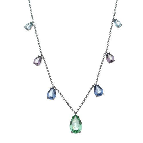 Colar-Gota-com-Pedras-Azul-Lilas-Tanzanitas-e-Verde-em-Prata-com-Rodio-Negro-