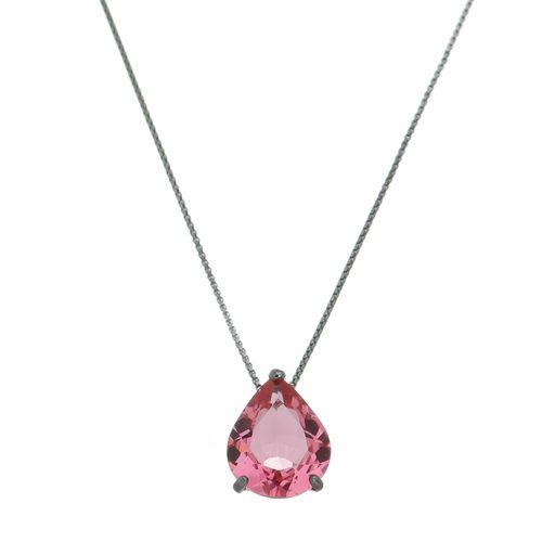 Colar-Gota-Cristal-Pink-em-Prata-com-Rodio-Negro-Colecao-Trend