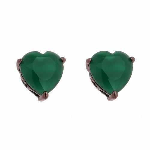 Brinco-Coracao-com-Pedra-Verde-em-Prata-com-Rodio-Negro