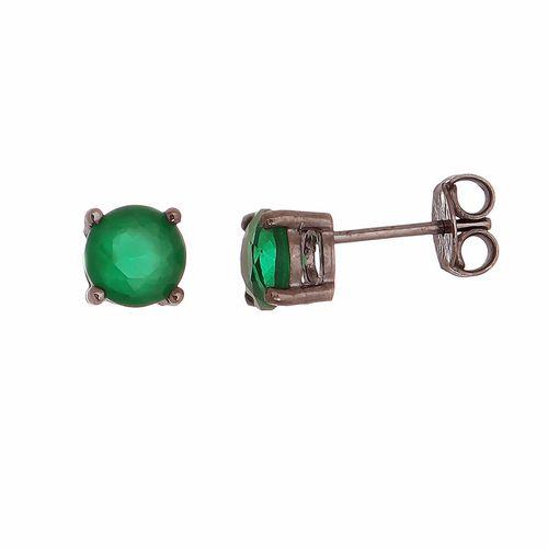 Brinco-Ponto-de-Luz-com-Zirconia-Verde-Esmeralda-em-Prata-com--Rodio