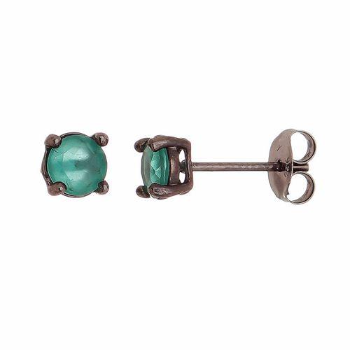 Brinco-Ponto-de-Luz-Cristal-Turmalina--5mm-em-Prata-com-Rodio-Negro
