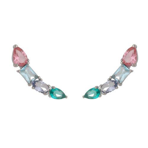 Brinco-Earcuff-com-Cristal-Pink-Azul-Verde-e-Roxo-em-Prata-com-Rodio-|Colecao-Lumiere