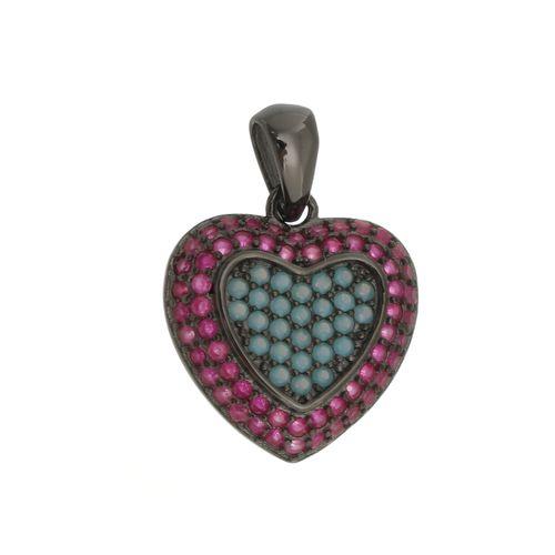 Pingente-Coracao-Cravejado-com-Pedras-Azul-Tiffany-e-Pink--em--Rodio-Negro