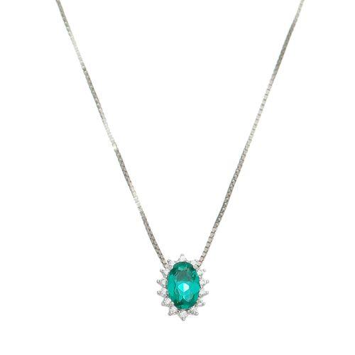 Gargantilha-Delicata-Oval-com-cristal-verde-esmeralda-com-Zirconias-Brancas-em-Prata-e-Rodio-|-Colecao-Delicata