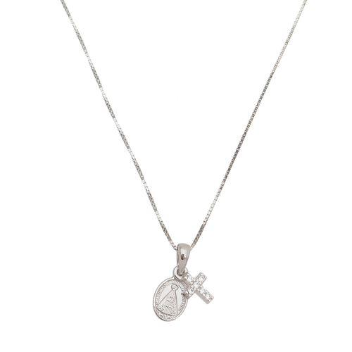 Gargantilha--Amuleto-da-Sorte-Cruz-com-Zirconias-e-Nossa-Senhora-em-Prata-e-Rodio-|-Colecao-Fe