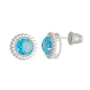 Brinco-Redondo-com-Zirconia-Azul-Zafira-cravejado-com-Zirconias-Brancas-em-Prata