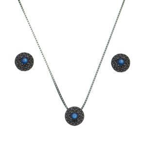 Conjunto-Redondo-Brinco-e-Colar-com-Zirconia-Azul-Safira-e-Negras-em-Prata-e-Rodio-Negro