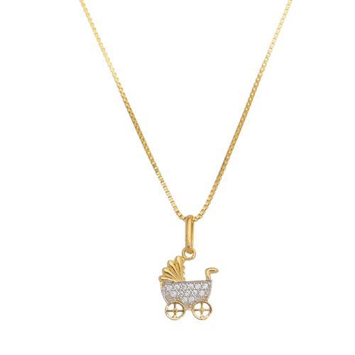 Pingente-Carrinho-de-Nenem-com-Zirconias-Brancas-em-Prata-e-Banho-de-Ouro
