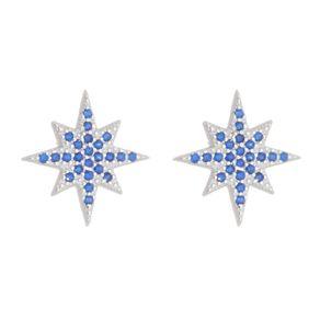 Brinco-Estrela-de-8-Pontas-com-Zirconias-Azuis-em-Prata-e-Rodio- -Colecao-Star