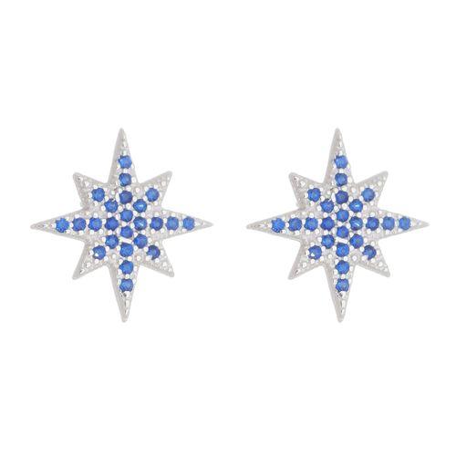 Brinco-Estrela-de-8-Pontas-com-Zirconias-Azuis-em-Prata-e-Rodio-|-Colecao-Star