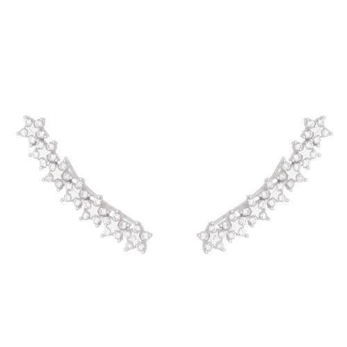 Brinco-Earcuff-e-Zirconias-Brancas--em-Prata-com-Rodio-|-Colecao-Bridal