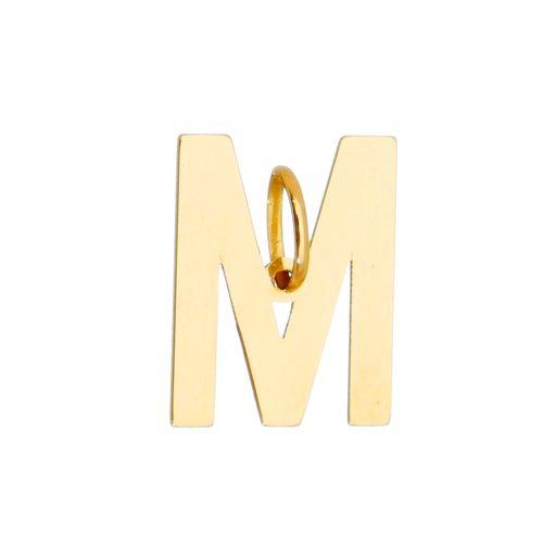 Pingente-Letra-M-em-Ouro-18k