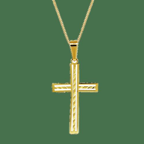 Pingente-Cruz-com-Textura-em-Ouro-|-Colecao-Fe