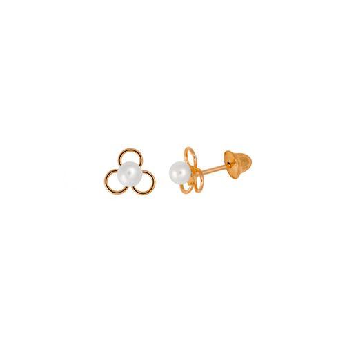 Brinco-Flor-Perola-Infantil-em-Ouro-18K