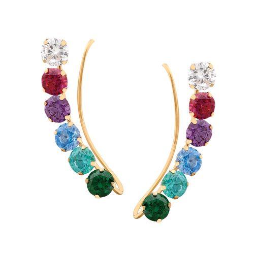 Brinco-Earcuff-com-Pedras-Verde-Esmeralda-Verde-Azul-Lilas-Rosa-e-Brancas-em-Ouro-18K