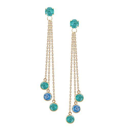 Brinco-Franja-Verde-Mint-e-Azul-em-Ouro-18-K