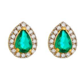 Brinco-Gota-Zirconia-Verde-Esmeralda-e-brancas-prata-com-Banho-de-Ouro