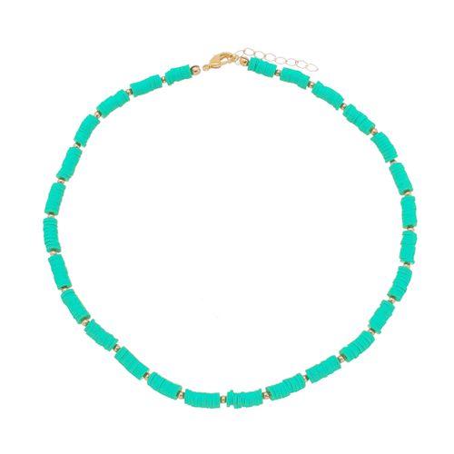 Gargantilha-Disco-Colors--Verde-Agua-e-Detalhes-em-Banho-de-Ouro