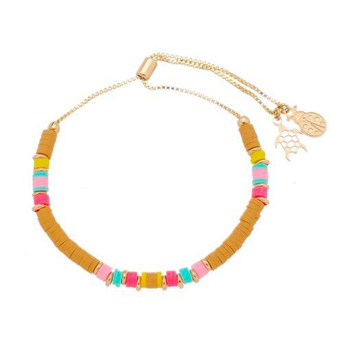 Pulseira-Colors-Disco-e-detalhes-de-Joaninha-e-Tartaruga-com-Banho-de-Ouro-