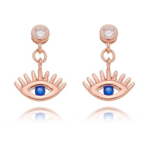 Brinco-Olho-Grego-com-Zirconia-Azul-em-Prata-e-Banho-Rose