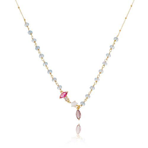 Gargantilha-Chocker-Colors-com-Estrela-em-Madreperola-e-Pedras-Azuis-Pink-Rocha-e-Branca-em-Banho-de-Ouro