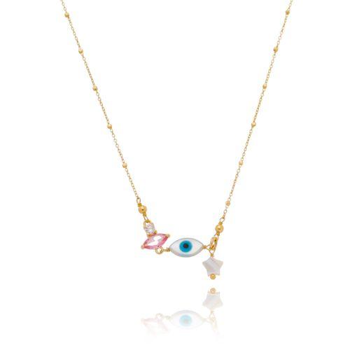 Gargantilha-Chocker-Colors-com-Olho-Grego-Estrela-em-Madreperola-e-Navete-Pink-e-Zirconia-Branca-em-Banho-de-Ouro