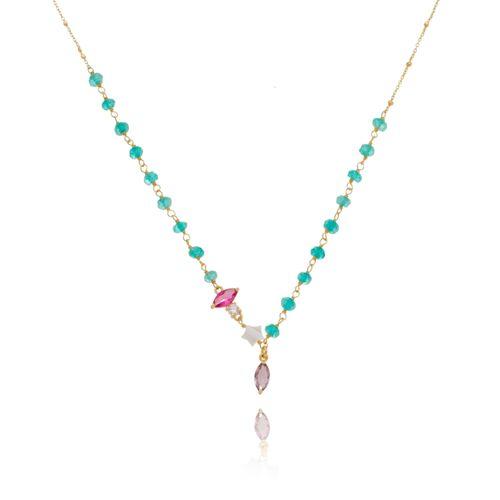 Gargantilha-Chocker-Colors-com-Estrela-em-Madreperola-e-Pedras-Azul-Turquesa-Pink-Rocha-e-Branca-em-Banho-de-Ouro